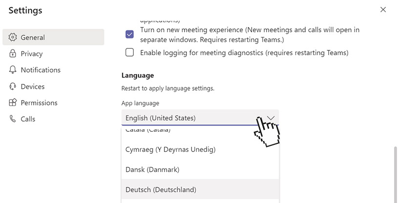 MS Teams language: Under settings, select your language from the dropdown menu.