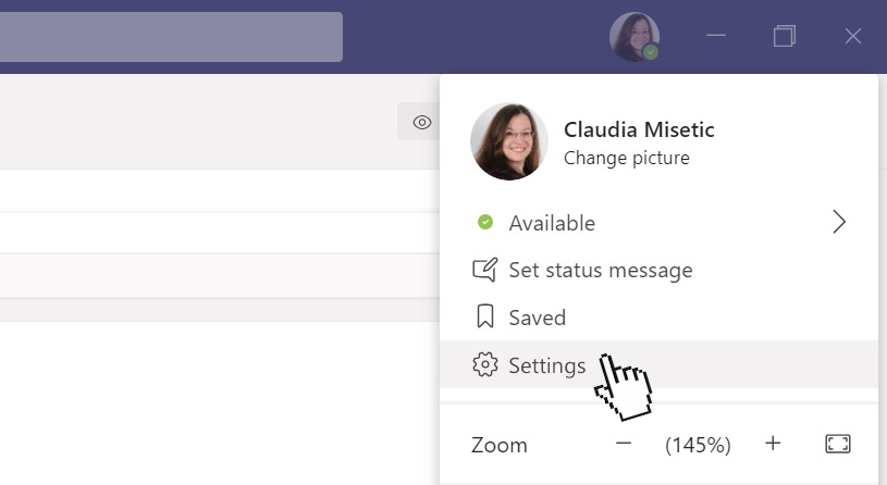 Microsoft Teams language: click on your profile picture, then on Settings.