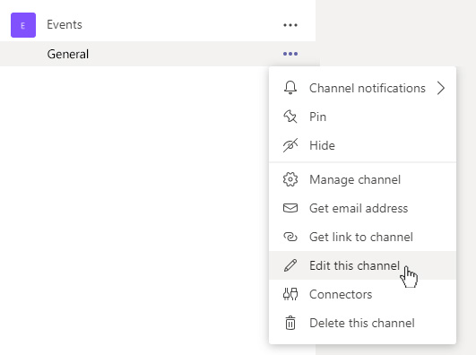 """Select """"Edit this channel"""" to add emojis to Channel names in Microsoft Teams"""