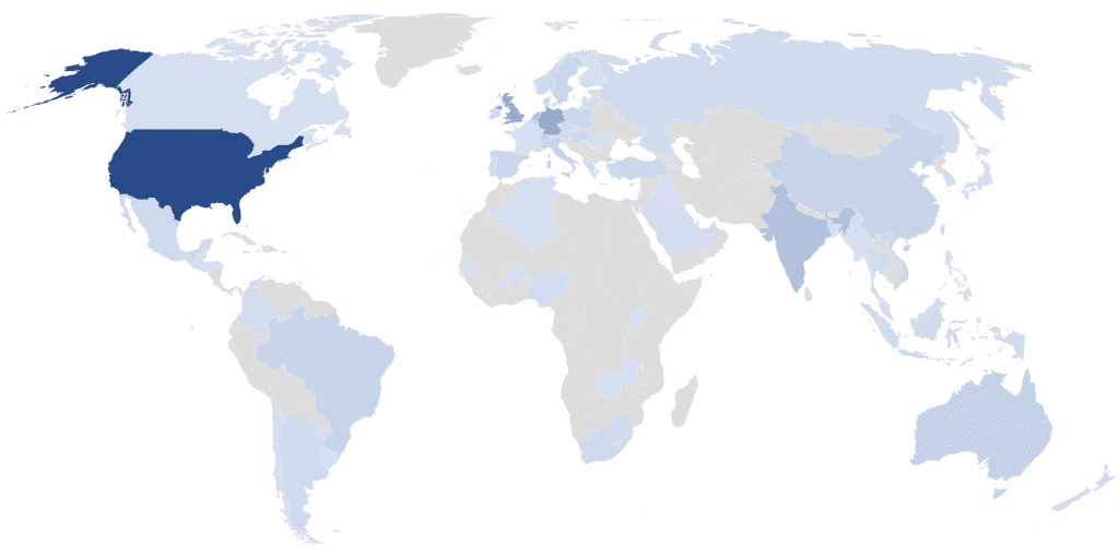A world map showing customers all around the world using the Teams Manager.